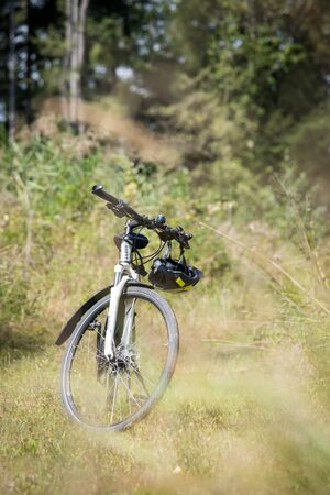 Bike tour. Bike, grass and wood. Outdoors, text space Stock fotó