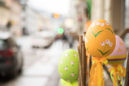 Easter egg: Close up of traditional selfmade european easter decoration.