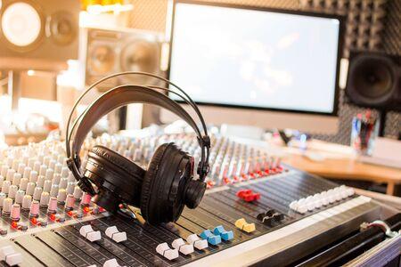 Professional sound recording studio: Headphones on a mixer desk, Radio