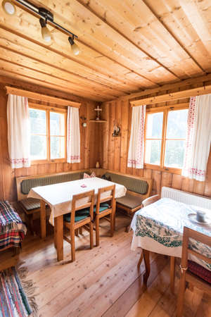 Inside of a rustic wooden hut or cabin, Austria Editorial