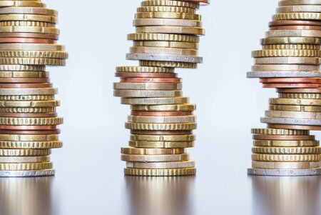 Coins stacked on each other, close up picture, money concept Foto de archivo