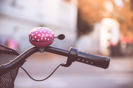 Colorful bike bell, urban city life Stockfoto