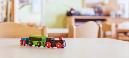 Close up of toy railway in der Kindergarten