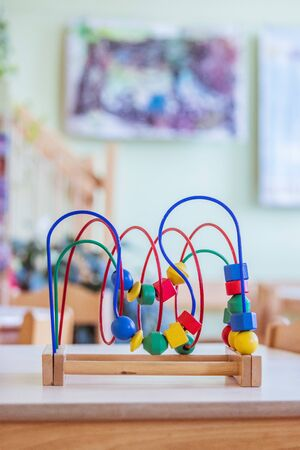 Close up of colorful wooden toy for learning and socialization 版權商用圖片