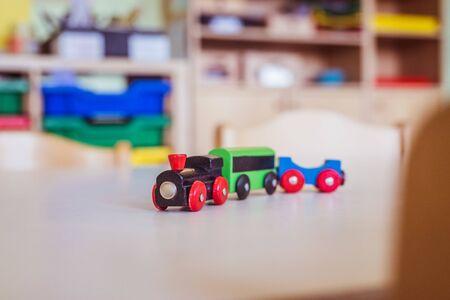 Close up of toy railway in der Kindergarten