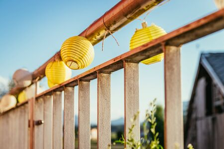 Close up of summer lampions on a balcony, leisure time in the summer holidays