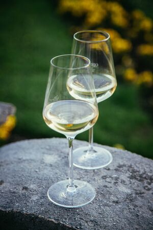 Glass of white wine on a stone wall in the formal garden. Enjoying it in the own garden in the evening sun. Stok Fotoğraf