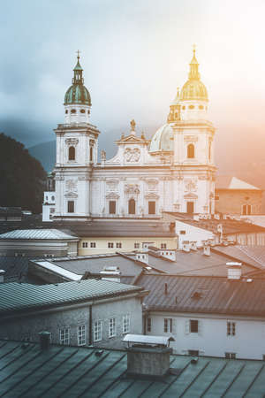 Salzburg Cathedral, Salzburg Dome on a rainy day