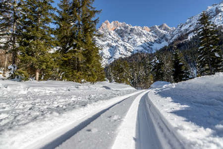 Cross-country skiing slope in Austria, Hinterthal, beautiful mountain scenery, blurry background