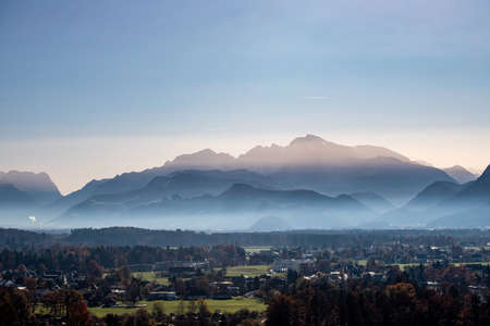 Mountain silhouette in Austria in autumn time