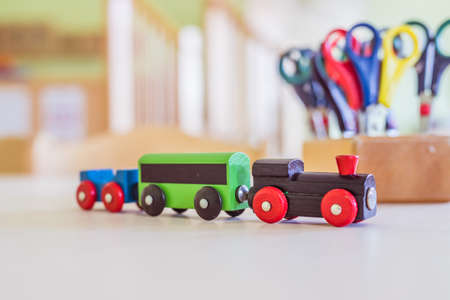 Close up of toy railway in kindergarten 版權商用圖片