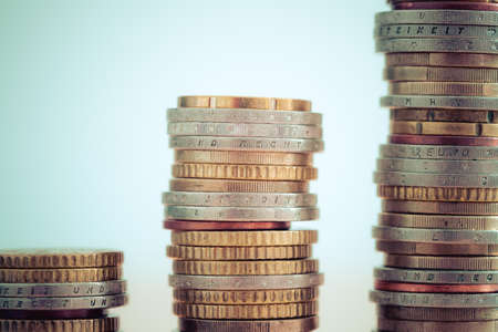 Coins stacked on each other, close up picture, money concept