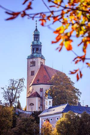 Müllner Church in Salzburg, Austria. Blue sky.