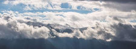 Snowy mountains in winter, landscape, alps, Austria Standard-Bild