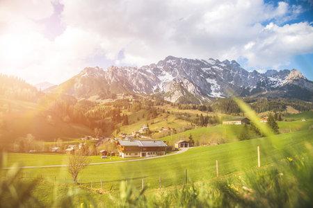Alpine Landscape Hochkönig Mountain Range, green meadows in spring