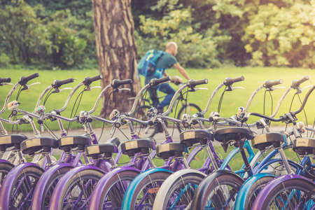 Row of bikes in rental agency, city mobility