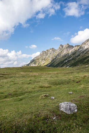 Idyllic mountain landscape in the alps: Beautiful scenery of meadow, mountains and blue sky Standard-Bild