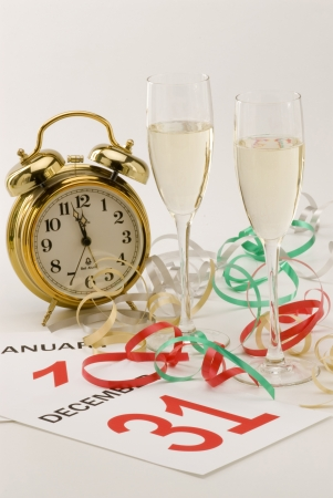 Two glasses of champagne and New Year photo