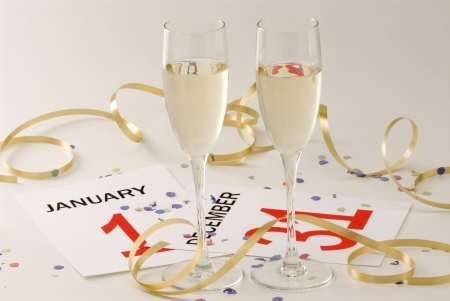Two glasses of champagne and New Year