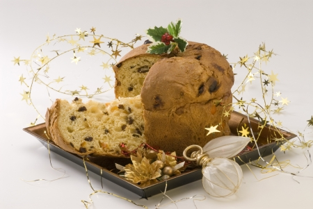 Panettone Traditional italian Christmas cake filled with raisins and candied orange peels