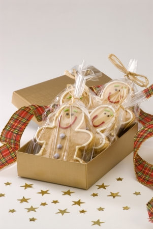 Traditional Christmas gingerbread man cookies in a box  photo