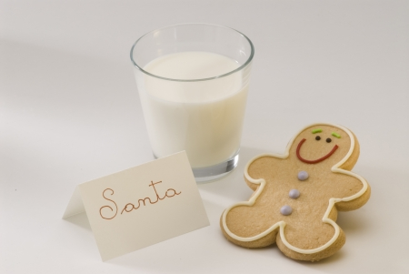 Traditional Christmas gingerbread man cookie and a glass of milk for Santa