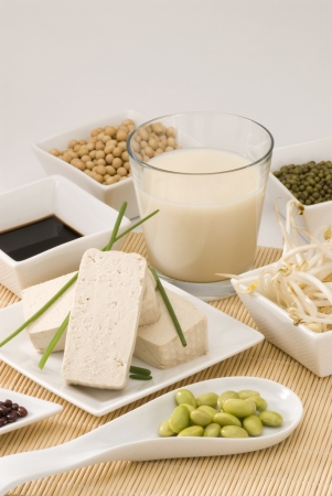 Assorted soy products on white background