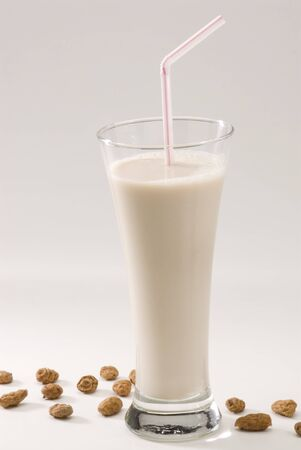 Tiger nut milk in a glass  Refreshing cold drink from Valencia  Horchata de chufa  Stock Photo