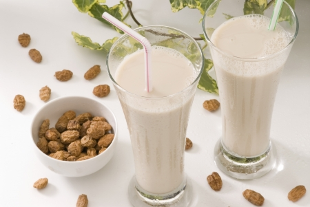 Tiger nut milk in two glasses  Refreshing cold drink from Valencia  Horchata de chufa