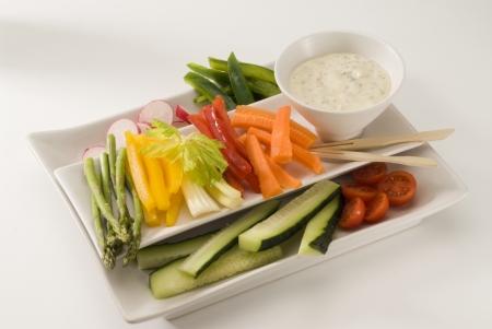 Crudites salad  Assorted vegetables sticks and dip  Selective focus