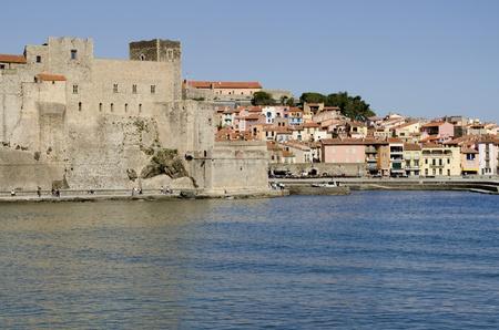 incidental people: Collioure,  Languedoc Rousillon, Pyrennes Orientales Department, France, Mediterranean Sea, Cote Vermeille, Vermeillon Coast Area,  Chateau Royal and Old Town
