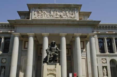velazquez: Prado Museum  Statue of the painter Diego Velazquez in foreground  Madrid  Spain