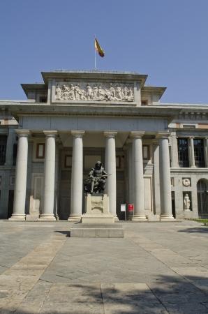Prado Museum  Statue of the painter Diego Velazquez in foreground  Madrid  Spain