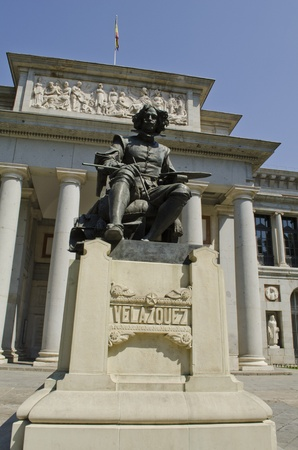 velazquez: Prado Museum  Statue of the painter Diego Velazquez  Madrid  Spain
