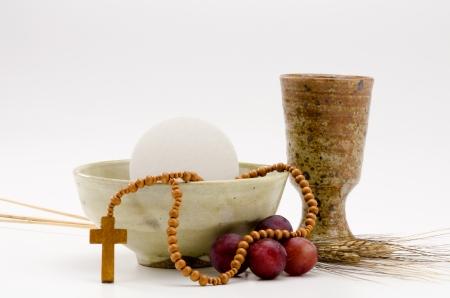 primera comunion: Primera composición Sagrada Comunión en el fondo blanco