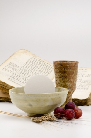 communion wafer: First Holy Communion composition on white background
