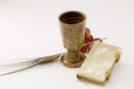 holy communion: First Holy Communion composition on white background