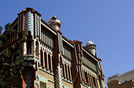 modernisme: Vicens House  Casa Vicens  Built by Antoni Gaudi in moorish style  Barcelona  Catalonia  Spain  Stock Photo