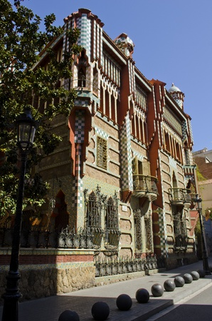 Vicens House  Casa Vicens  Built by Antoni Gaudi in moorish style  Barcelona  Catalonia  Spain  Stock Photo