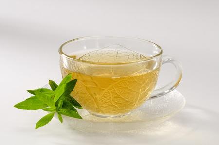 Zitronenverbene Kr�utertee in einem Glas. Aloysia citriodora. Naturheilkunde. Wei�er Hintergrund.