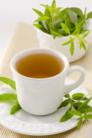 Lemon verbena Herbal Tea in a cup. Aloysia citriodora.  Naturopathy. White Background. Focus on foreground. photo
