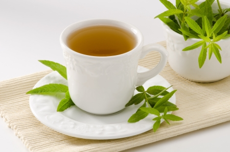 naturopathy: Lemon verbena Herbal Tea in a cup. Aloysia citriodora.  Naturopathy. White Background. Focus on foreground.