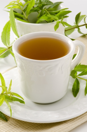 Zitronenverbene Kr?utertee in einer Tasse. Aloysia citriodora. Naturheilkunde. Wei?er Hintergrund. Fokus auf den Vordergrund. Lizenzfreie Bilder