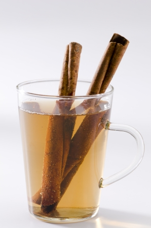 Cinnamon Herbal Tea in a glass cup. Naturopathy. White Background.