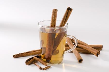 naturopathy: Cinnamon Herbal Tea in a glass cup. Naturopathy. White Background.