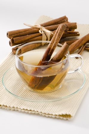 naturopathy: Cinnamon Herbal Tea in a glass cup. Naturopathy. White Background. Focus on Foreground.