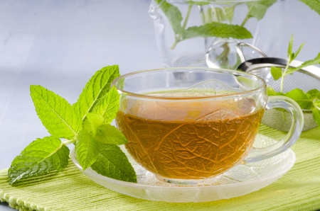 Mint Herbal Tea in a glass cup. Mentha piperita. Naturopathy. Focus on foreground.