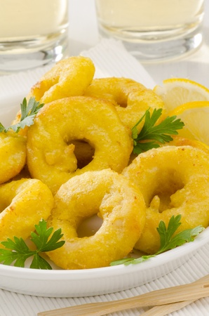 calamares: Spanish cuisine. Tapas. Fried Squid Rings in a white plate. Selective Focus. Calamares a la Romana.