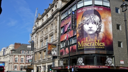 shaftesbury avenue: London, United Kingdom - July 19, 2013: View from Shaftesbury Avenue of the Quees Theater during the run of Les Miserables