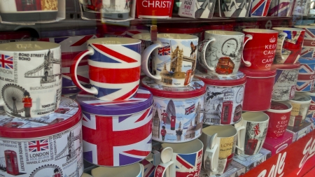 shaftesbury avenue: London, United Kingdom - July 19, 2013: View of a shop window at Shaftesbury Avenue, shows a variety of London souvenirs